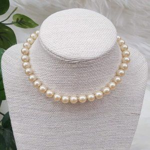 Vintage, Faux Pearl Necklace w/ Jeweled Clasp